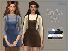 A lovely denim overall dress + cotton jumper combo. Found in TSR Category 'Sims 4 Female Everyday'