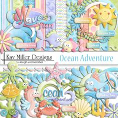 "Photo from album ""(Ocean Adventure"" on Yandex. Digital Scrapbook Paper, Kit Scrapbook, Digital Paper Free, Digital Papers, Free Paper, Png Pack, Pond Animals, Digital Ocean, Scrapbooking Freebies"