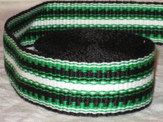 Black, kelly green, and white hand-woven inkle trim (14 feet)
