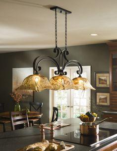 tuscan kitchen lights | Vitraio 3 Light Tuscan Iron Kitchen Island Chandelier | eBay
