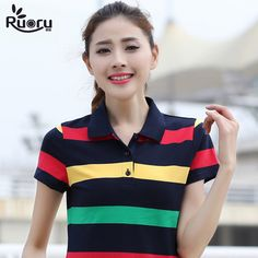 3a0a3a804892 Ruoru M- Large Size Cotton Striped Ladies Polo Shirt Casual Slimming Short  Sleeve women s Polo Shirt Fashion Polo Femme