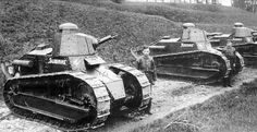 """The tanks Renault FT-17, 3rd tank platoon of the Lithuanian army.In the foreground of the tank «Slibinas» [ «Slibinas"""" (serpent)], a little farther «Kerstas» [ «Kershtas"""" (Revenge)].The third tank is illegible likely «Audra» [ «Audra"""" (Storm)], but he is from the 1st Platoon. Picture taken in 1926"""