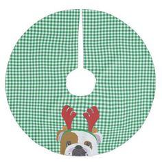 English Bulldog Rudolph Reindeer Brushed Polyester Tree Skirt