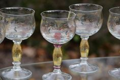 Vintage Etched and Painted Wine Glasses Set by Antiquevintagefind