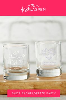 Give your girl squad something they can toast with at your ladies only celebration! An alternative option, place a tea light in this votive holder and pack it in a little baggie as a cute take home gift. | Personalized 2 oz Shot Glass/ Votive Holder- Elements | Kate Aspen Bachelorette Party Supplies, Bachelorette Party Decorations, Kate Aspen, Glass Votive Holders, Your Girl, Home Gifts, Tea Lights, Shot Glass, Squad