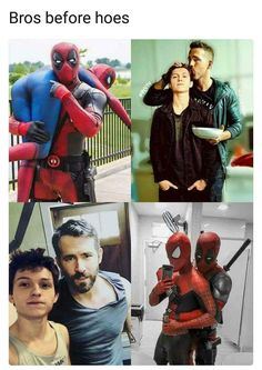 Marvel owns Deadpool now. I just want this scene in the next Spiderman it would be so amazing. Marvel Jokes, Funny Marvel Memes, Avengers Memes, Funny Comics, Funny Memes, Hilarious, Deadpool X Spiderman, Spiderman Cute, Deadpool Funny
