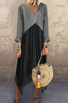 Casual V-Neck Loose Color Matching Long Sleeve Irregular Dress. Sizes from Moda Buy Maxi Dresses Online, Casual Dresses, Fashion Dresses, Fashion Clothes, Floryday Dresses, Loose Dresses, Mode Outfits, Mi Long, Casual Chic