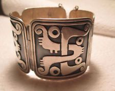 Vintage Taxco Mexico Sterling Silver Pedro Castillo Hinged Wide Cuff Bracelet