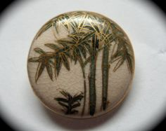 Vintage Button ~ Japanese Satsuma Ceramic w Gilded Bamboo