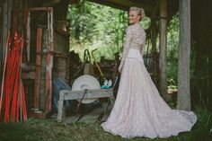 Real wedding in Finland - Beige wedding dress with lace bolero made by Pukuni (www.pukuni.fi)