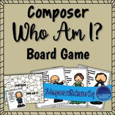 Review students knowledge of 36 different composers in a fun and interactive way. With over 36 composers, Who Am I is a game students love to play! Answer key and black and white options included.You may also be interested in:Composer Who Am I? Coloring BookComposer Who Am I? Elementary Music, Elementary Teacher, Teaching Music, Teaching Resources, Music Education Lessons, Music Composers, Music Games, Lesson Plans, School Stuff