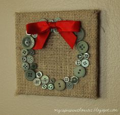 Christmas decor or gift -- burlap with buttons in a holiday shape. the wreath is cute -- maybe a Christmas tree? Christmas Buttons, Burlap Christmas, Christmas Mantels, Noel Christmas, Homemade Christmas, Winter Christmas, Christmas Wreaths, Christmas Decorations, Christmas Ornaments