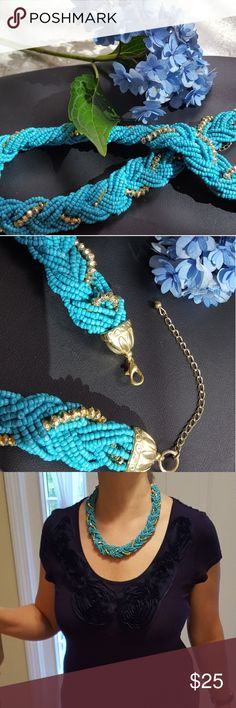 """Boho Vibe Necklace Aaaah, just chillin' on the beach enjoying the ocean breeze & a tropical beverage. This piece features numerous intricate turquoise & gold beaded strands woven together to create this masterpiece! The lobster claw closure offers a goldtone 4"""" extension. Appx length w/o extension is 17"""".  ❤From a smoke & pet free home❤ I will be listing black & black w/gold soon! Jewelry"""