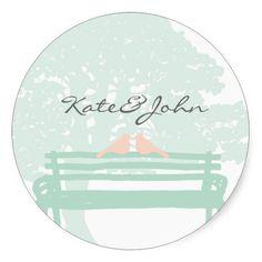 Birds on a Park Bench Wedding Round Stickers