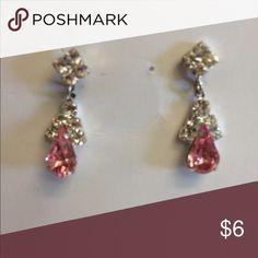 Pretty rhinestone and pink stone earrings. Lovely rhinestone and pink teardrop stone earrings.                                          Length: 1 inch Jewelry Earrings