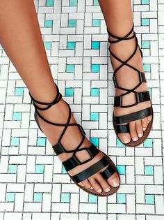 Faryl Robin x Free People Coffee Snake Vegan Maddie Tie Up Sandal at Free People Clothing Boutique