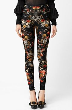 Gorgeous. Alexander McQueen Flower Print Leggings.
