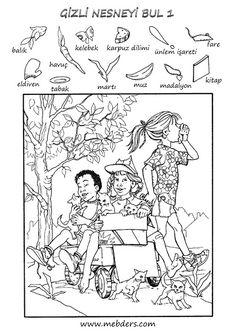 Gizli nesneyi bulma etkinliği 1 Infant Activities, Preschool Activities, Activities For Kids, Hidden Pictures Printables, Coloring Books, Coloring Pages, Hidden Picture Puzzles, Art Books For Kids, Visible Thinking