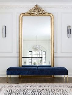 Large floor mirror with bench in front, foyer, entrance area, gold floor mirror . - Home Decor Interior Design Inspiration, Decor Interior Design, Home Decor Inspiration, Decor Ideas, Decorating Ideas, Design Ideas, Art Deco Interior Bedroom, Gold Bedroom Decor, French Interior Design