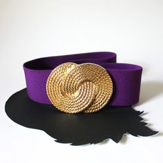Purple and Gold Knot Elastic Belt by MeganLeoneVintage on Etsy, $37.99