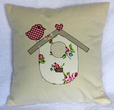 Shabby Chic, retro, red gingham bird applique cushion pillow cover - red, cream, beige, 14 inches. $16.00, via Etsy.
