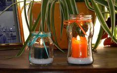 Porta velas con frasco de mermelada