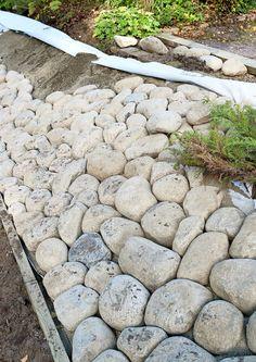 Amazingly Green Front-yard & Backyard Landscaping Ideas - All For Garden Rock Garden Plants, Terrace Garden, Garden Paths, Landscaping With Rocks, Front Yard Landscaping, Landscaping Ideas, Patio Pergola, Sloped Garden, Garden Care
