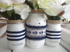 Hey, I found this really awesome Etsy listing at https://www.etsy.com/listing/273933040/nautical-centerpiece-painted-mason-jar