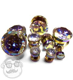 "Pair of Rainbow Aurora Gem Stainless Steel Plugs / Gauges Sizes 8G - 5/8"" - New! #UrbanBodyJewelrycom"
