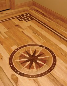 Hickory wood floor with border medallion from www for Wood floor medallion designs