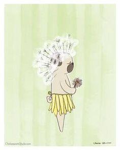 Dandelion Pug - Pug Art Print by Claire Chambers - ChickenpantsStudio Pug Illustration, Pug Art, Paper Design, Pugs, Dandelion, Original Paintings, Things To Come, Art Prints, Studio