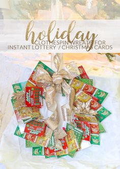 Creative Gift giving: Clothespin Wreath for Instant Lottery Tickets, family photos or holiday cards #ad #NJLotteryHoliday