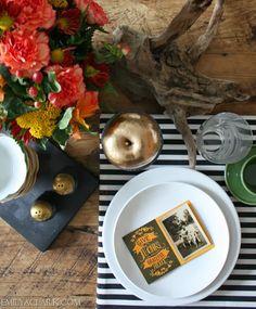 Fall decorating, Thanksgiving table setting, spray painted gold apples, stripes, driftwood, black and white