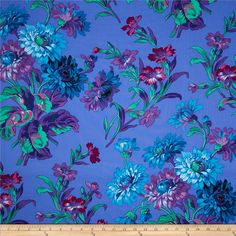 Kaffe Fassett Anne Marie Blue from @fabricdotcom  Designed by Philip Jacobs for Westminster, this cotton print fabric is perfect for quilting, apparel and home decor accents. Colors include black, red, pink, shades of blue, shades of purple, and shades of green.