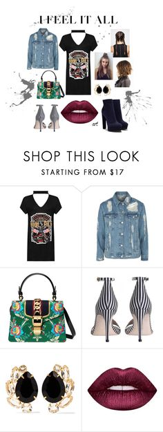 """""""blacks"""" by annarivera-i on Polyvore featuring WearAll, Topshop, Gucci, Zimmermann, Bounkit, Lime Crime and Casadei"""