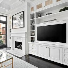 Built In Media Center, Transitional, Living Room, Domaine Home ...