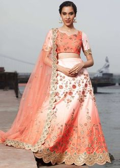 #peach #embroidery #lehenga #choli #dupatta #indianwear #traditional #outfit #beautiful #bride #new #designer #collection #ootd #wedding #time #womenswear #online #shopping Silk Lehenga, Cut Work, Embroidered Silk, Silk Satin, Indian Outfits, Indian Beauty, Peach, Sequins, Purpose