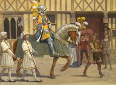 Graham Turner - Robert Stuart, 4th Seigneur d'Aubigny, leads the Scottish archers of Francis I's personal bodyguard into Paris on the occasion of his coronation in January 1515.