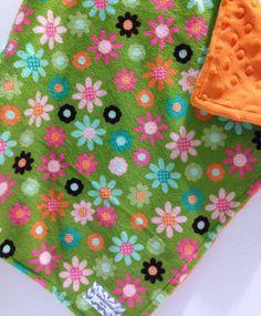 Mini baby blanket lovey minky Green flowers by lakesidecreations1