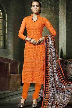 Orange & Black Faux Georgette UnStitch Suit With Chiffon Dupatta