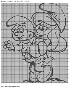 free Smurf crochet patterns | ... smurf charts by luvs2knit crochet crochet chart filet crochet pattern