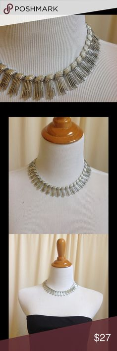 """SARAH COVENTRY Vintage Spike Necklace What a Classic! Silver tone. Very detailed. To me this resembles a kind of bamboo fence with a layered rope effect at the top of each link. Finely ribbed chain links leads to the hook closure. SC Sarah Cov handheld mirror label at closure. Beautiful, but does have a few spots where the outer silver tone has revealed the metal underneath, and is priced to reflect this. Length longest 16.75"""", shortest 12.5"""". Vintage Jewelry Necklaces"""
