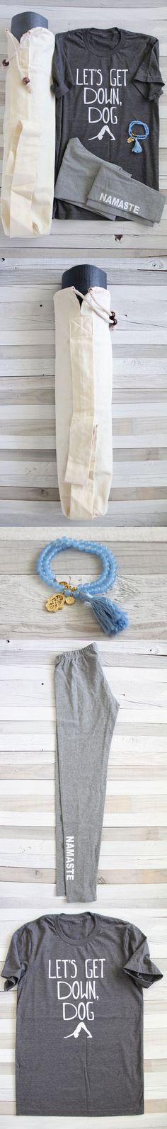 Yoga Gift Set! Includes: Yoga mat bag, yoga shirt, yoga leggings, and a yoga hamsa bracelet!