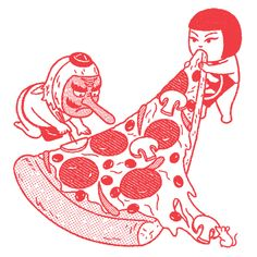 Love his obsession with pizza and girls in bikinis. by Kimiaki Yaegashi
