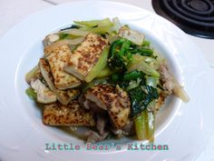 Stir fried green pepper with pork and grill tofu.