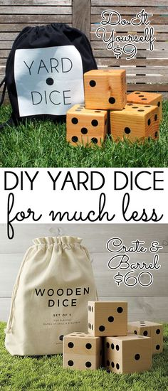 {diy with style} Summer Fun with DIY Wooden Yard Dice SUMMER FUN! Make a set of DIY wooden yard dice for a fraction of the cost of store bought sets of lawn dice. Summer fun for the whole family! Backyard Games, Outdoor Games, Lawn Games, Outdoor Playset, Crate And Barrel, Wooden Crafts, Diy Crafts, Geek House, Yard Dice