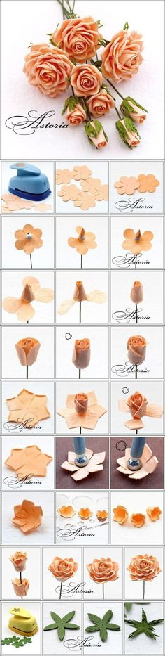 DIY Nice Modular Rose. I think think this can be done with fabric also, lightly melting the edges.