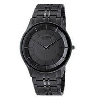 Citizen Eco-Drive Stiletto Mens Black Stainless Steel Watch