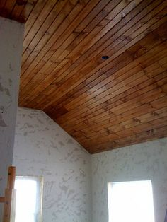Mike and Jr's Project :) DIY wood ceiling instructions. ♥ Don't know that I would do it myself but I think it's gorgeous!