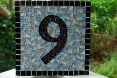 Mosaic Address Sign  1 House Number by GreenStreetMosaics on Etsy